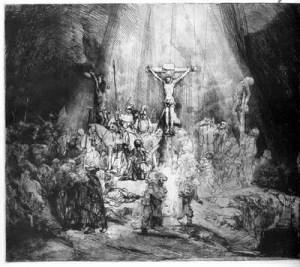 Nesta cena biblica Rembrabdt mostra a cruxificacao de Jesus no Monte Golgota. Toda a composicao foi desenhada com ponta seca e buril diretamente sobre a chapa de metal (matriz).A tecnica de gravura uitlizada foi a agua forte.