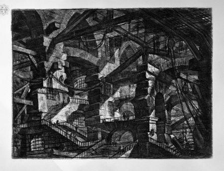 """Le carcere d'invenzione, 1750-3, prancha XIV, água forte, 53X72,8cm. Capa de """"Mestres da Gravura"""""""