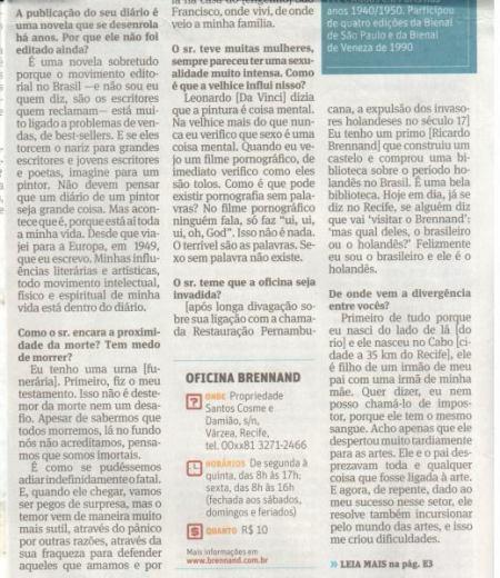 BRENNAND, Folha Ilustrada, 17 de março de 2013