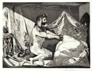 Faun Revealing a Sleeping Woman (Jupiter and Antiope, after Rembrandt) 1936 by Pablo Picasso 1881-1973