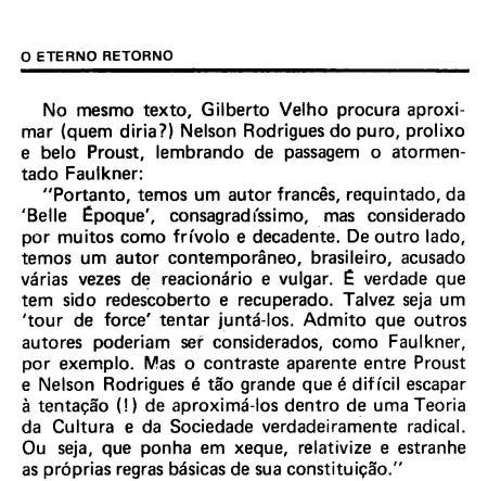 Nelson Rodrigues e Proust, segundo Gilberto Velho,  p. 78