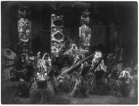 http://www.loc.gov/pictures/resource/cph.3a49167/?co=ecur.  Masked dancers--Qagyuhl, c1914 November 13, Curtis, Edward S., 1868-1952