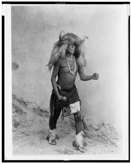http://www.loc.gov/pictures/collection/ecur/item/92519846/. Sia buffalo dancer. Full-length, standing, facing right. By Edward S. Curtis
