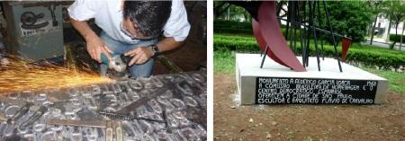 A placa da escultura em dois momentos= sendo soldada durante o restauro, e depois pronta para inauguração