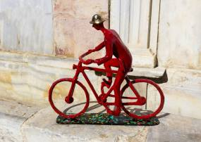 The Bicycle Rider Sculpture by Uri Dushy